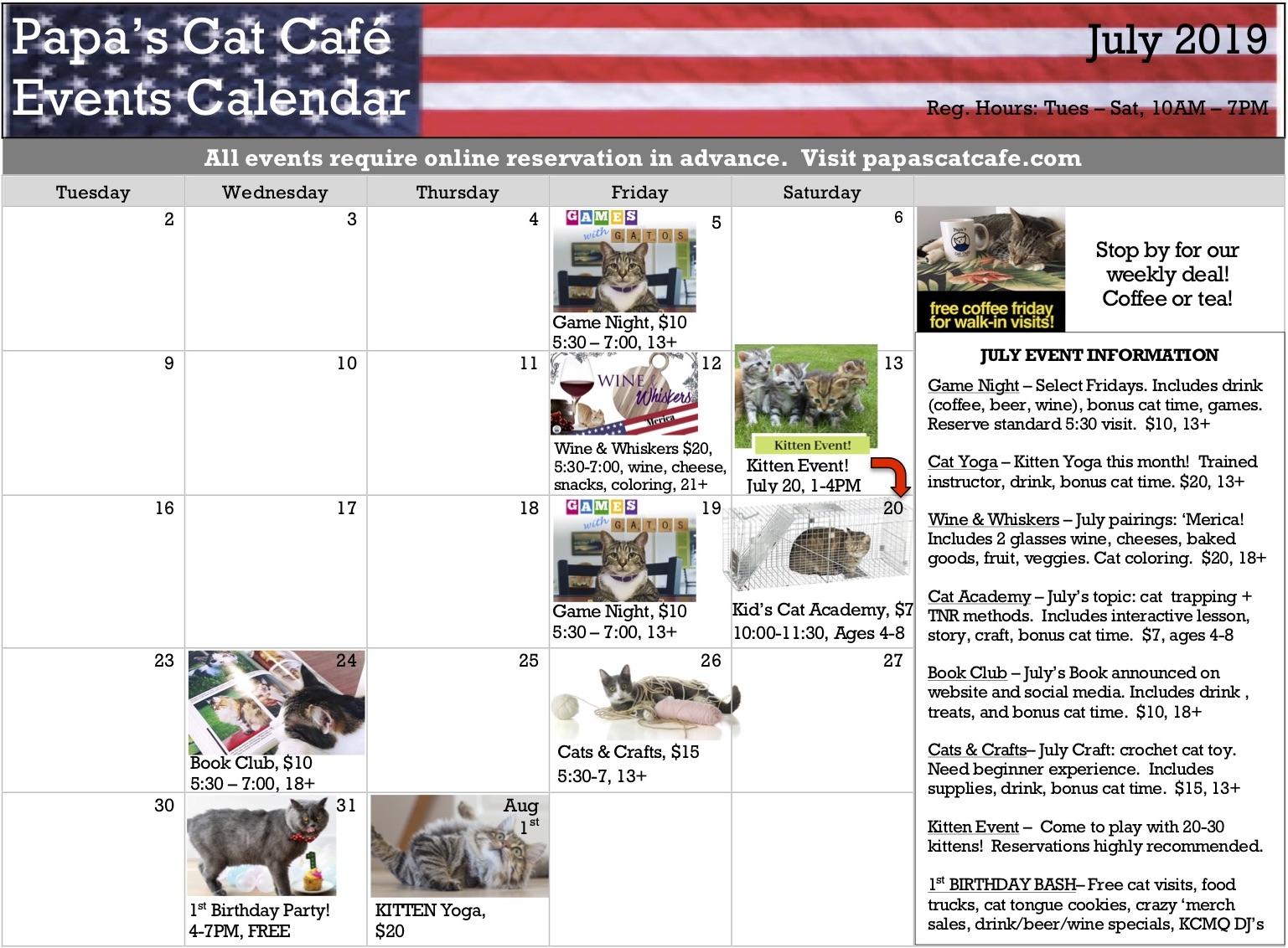 Events Calendar, July 2019