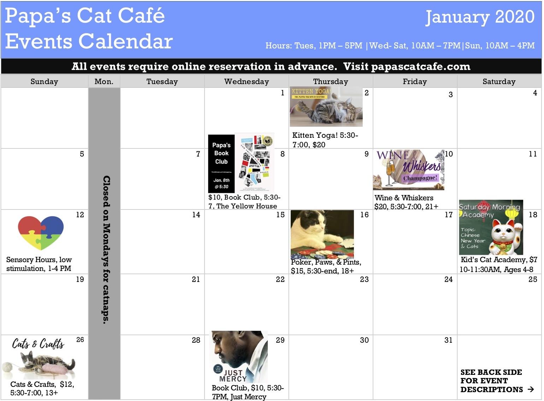 Events Calendar, Jan 2020 Picutre